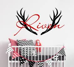 Personalized Name Wall Decal Removable Vinyl Deer Horns Wall Sticker Hunting Pattern Kids Room Bedroom Decor Wall Mural Ay048 Wall Stickers Aliexpress