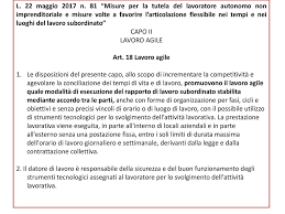 """L. 22 maggio 2017 n. 81 """"Misure per la tutela del lavoratore ..."""