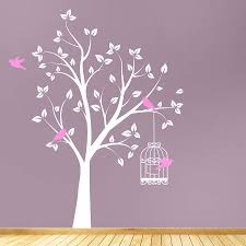 Tree With Bird Cage Wall Stickers Tree Wall Decal Floral Wall Sticker Tree Wall Stickers