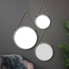 round silver wall mounted mirrors