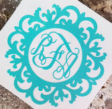 Fancy Frame Monogram Decal Yeti Monogram Water Bottle Etsy