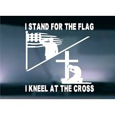 Stand For Flag Kneel Cross Usa Die Cut Vinyl Window Decal Sticker For Car Truck