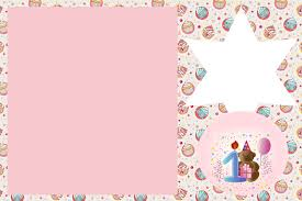 Invitaciones De Primer Ano De Nena Con Osito Para Imprimir