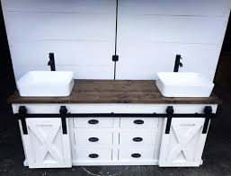 double vanity with sliding barn doors
