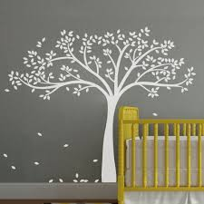 Amazon Com Monochromatic Fall Tree Extended Wall Decal Tree Wall Sticker Vinyl Tree Decal Nursery Wall Art Decoration Large White Home Kitchen