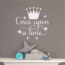 Amazon Com Diggoo Once Upon A Time Wall Decal Quote With Princess Crown Wall Decal Kids Room Decor Girls Nursery Vinyl Wall Art Sticker White 18 H X 18 5 W Kitchen Dining