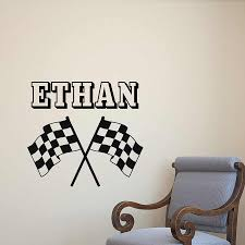 Personalized Racing Wall Decal Race Flags Vinyl Wall Sticker Custom Name Lettering Teens Bedroom Living Room Home Decor M463 Wall Stickers Aliexpress