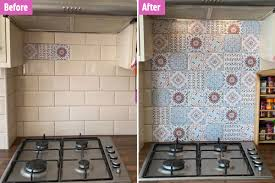 Mum Shows How She Transformed Her Bland Kitchen Tiles For 21 Using Ornate Vinyl Stickers