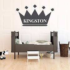Amazon Com Wall Decal For Kids Personalized Name King Crown Design Vinyl Wall Home Decor For Boy S Bedroom Playroom Custom Baby Nursery Decoration Black White Gold Other Colors