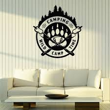 Camping Logo Wall Decal Wild Camp Time Forest Paw Print Art Mural Teen Boys Room Decor Adventure Tourist Vinyl Stickers Q008 Wall Stickers Aliexpress