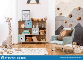 Cute Interior Of Kid Room With Baby Accessories And Toys Stock Image Image Of Girl Decor 175793469