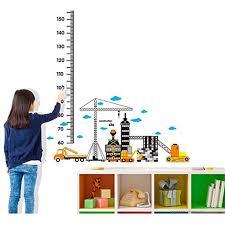 Bibitime Car Building Construction Site Height Chart Wall Stickers Nursery Bedroom Kids Room Decor Decal Wallpaper