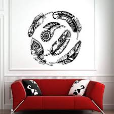 Feathers Wall Decal Native American Decals Nature Wall Art Living Room Bedroom Bohemian Tribal Pattern Indian Wall Decor Trendy Fashion C102 Amazon Com