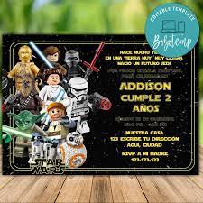 Invitacion De Cumpleanos De Lego Star Wars Para Imprimir Descarga Instantanea Bobotemp