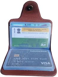 atm card holder leather 12 card brown