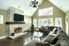 stone fireplace with tv mounted