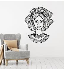 Vinyl Wall Decal Black Girl Woman African Face Beautiful Fashion Nativ Wallstickers4you