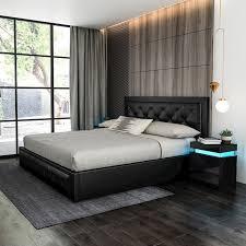 modern king size wood bed frame pu
