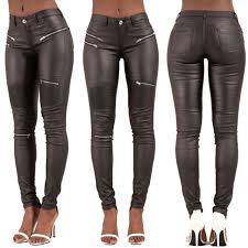 women leather look leggings black wet