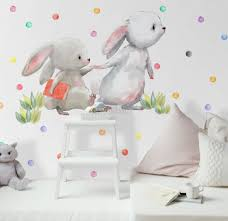 The Cute Bunny Reading Books With Colorful Polka Dots Wall Decal Sticker Wall Decals Wallmur