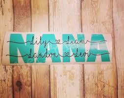 Car Decal With Personalized Names Nana Mamaw Momma Mom Grandma Grandmaw Papaw Dad Grandad Grandpa Paw Mi Car Decals Personalized Custom Novelty Sign