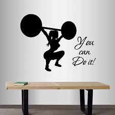 Wall Vinyl Decal Home Decor Art Sticker Just Do It Motivation Quote Phrase Strong Girl Woman Weightlifting Powerlifting Sports People Gym Workout Room Removable Stylish Mural Unique Design Amazon Com