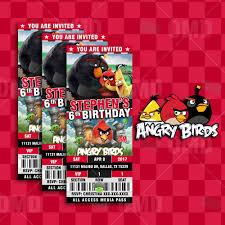 Angry Birds Ticket Style Cartoon Invites – Cartoon Invites