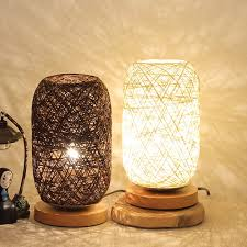 Rattan Lampshade Small Table Lamp Vintage Wood Table Lamp Kids Room Bedroom Bedside Study Room Reading Desk Lamp Fixtures Led Table Lamps Aliexpress