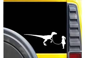 Girl Walking Velociraptor Sticker K626 Dinosaur Decal Wish