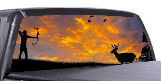 Hunting Scene Universal Truck Rear Window 50 50 Perforated Vinyl Decal Roe Graphics And Apparel