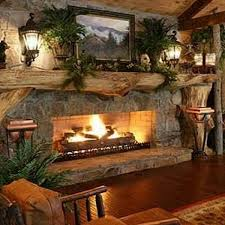 rustic stone fireplace