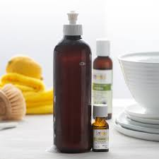 homemade dish soap with lemon essential