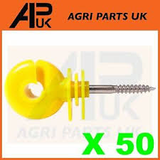 50 X Yellow Screw Ring Insulators Electric Fence Post Wire Rope Fencing Polywire Ebay