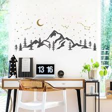 Mountains And Night Sky Decal Moon Stars Vinyl Sticker Forest Scene Hiking Camping Constellations Room Decoration Nr51 Wall Stickers Aliexpress