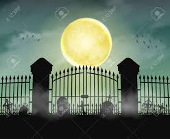 Silhouette Cemetery Graveyard Gate With Moon Night Royalty Free Cliparts Vectors And Stock Illustration Image 81884597
