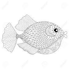 Hand Getrokken Fish Voor Volwassen Anti Stress Kleurplaten Post
