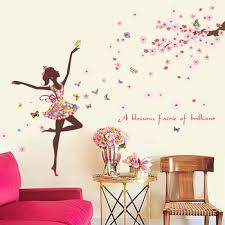 Flower Fairy Wall Stickers Butterflies Bedroom Girls Rooms Home Decoration Art Decals 3d Wallpaper Sticker Adesivo De Parede Leather Bag