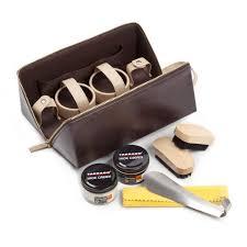 de luxe brown shoe care travel kit