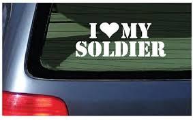 Amazon Com I Love My Soldier Vinyl Sticker Decal White Automotive