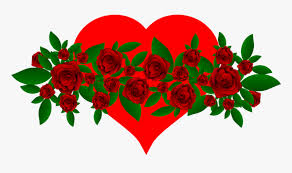 flowers heart red green leaves roses
