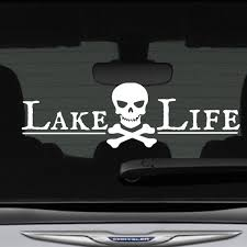Lake Life Decal Bumper Sticker Pirate Skull Crossbones 12 In Etsy