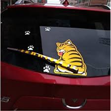 Amazon Com Fochutech Car Auto Body Sticker Funny Cat Tail Rear Windshield Window Wiper Self Adhesive Side Truck Vinyl Graphics Decals Yellow Automotive