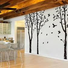 Amazon Com Mairgwall Set Of 3 Birch Trees With Flying Birds Wall Stickers Beautiful Tree Wall Decal Vinyl Wall Art Decor For Nursery Kids Rooms Bedroom Living Room Home Kitchen
