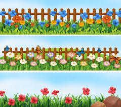 Garden Scenes With Flowers And Fence Download Free Vectors Clipart Graphics Vector Art