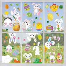 Easter Spring Decorations Party Supplies Tifeson 66 Pcs Easter Window Clings Static Stickers Decal Removable Pvc Easter Bunny Easter Eggs Window Decals Window Stickers