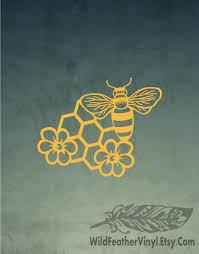 Honey Bee Vinyl Decal Free Shipping Honeycomb Bee Flower Etsy Bee Decals Vinyl Decals Bumble Bee Art