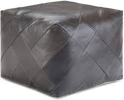 Amazon Com Simplihome Lovell Square Pouf Footstool Upholstered In Dark Brown Leather For The Living Room Bedroom And Kids Room Contemporary Modern Furniture Decor