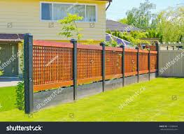 Asian Oriental Style Modern Wooden Fence Buildings Landmarks Stock Image 112588010