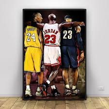 Kobe Bryant Michael Lebron James Basketball Canvas 1 Pcs Hd Prints Home Decor Poster Painting Wall Art Modular Picture Framework Nordic Wall Canvas Home And Decoration