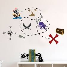 Pirate Ship And Buried Treasure Map Decal Set Wall Decal Etsy Pirate Kids Room Kids Room Wall Stickers Vinyl Art Stickers